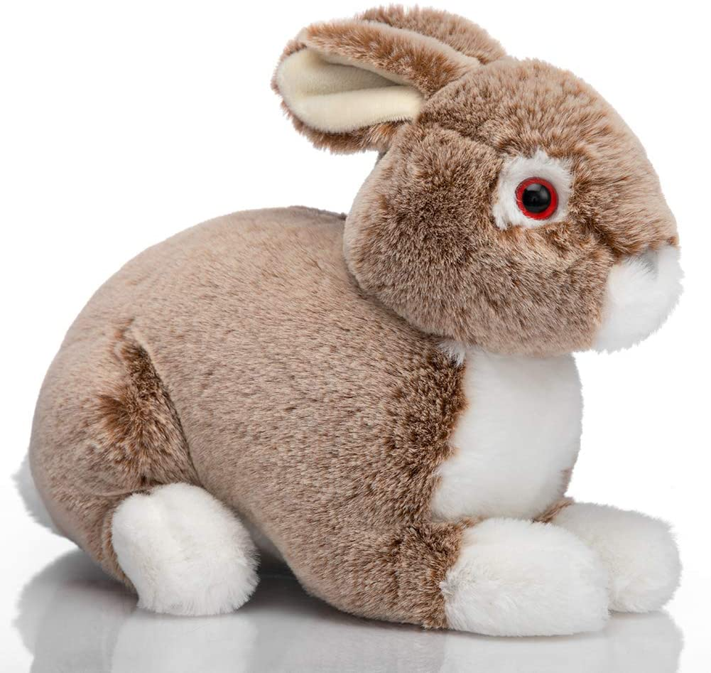 HollyHOME Plush Rabbit Stuffed Animal Easter Bunny Super Soft Realistic Rabbit 10 Inches Dark Brown