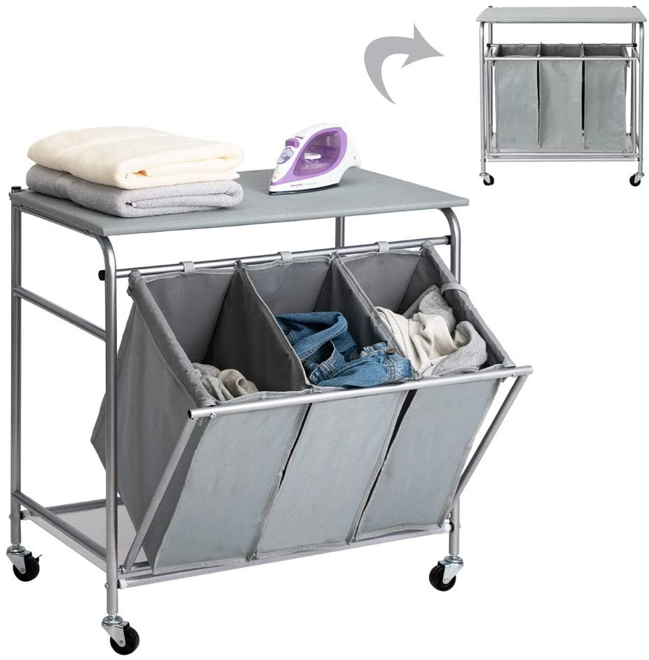 PARANTA Laundry Sorter Cart Heavy Duty 3 Bags Classic Rolling Side Pull Ironing Board Laundry Hamper Sorter with 4 Wheels Grey