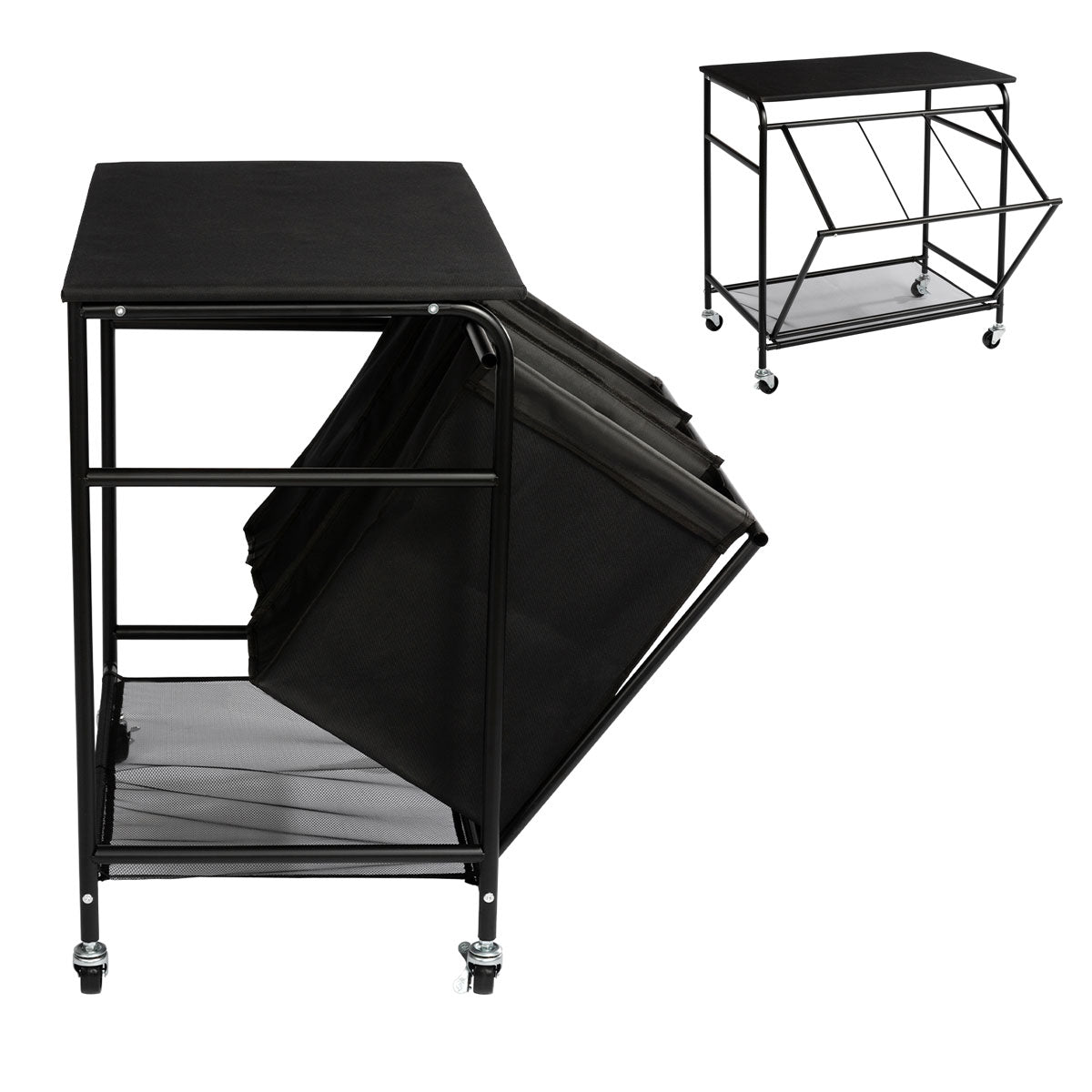 HollyHOME Laundry Sorter Cart  with Unopenable Ironing Board with Side pull 3-Bag Heavy-Duty Laundry Hamper and 4 Wheels Black - HollyHOME