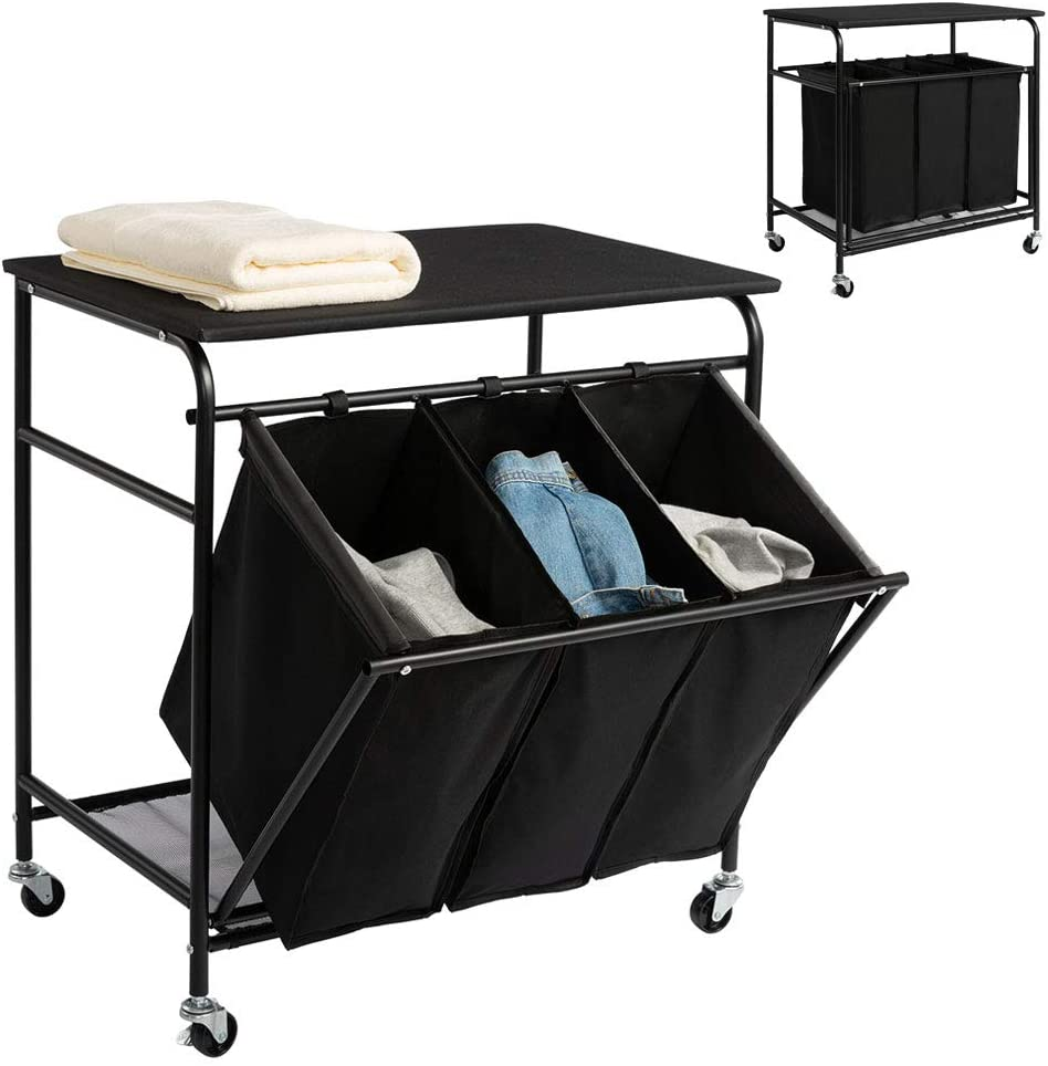 PARANTA Laundry Sorter Cart Heavy Duty 3 Bags Classic Rolling Side Pull Ironing Board Laundry Hamper Sorter with 4 Wheels Black