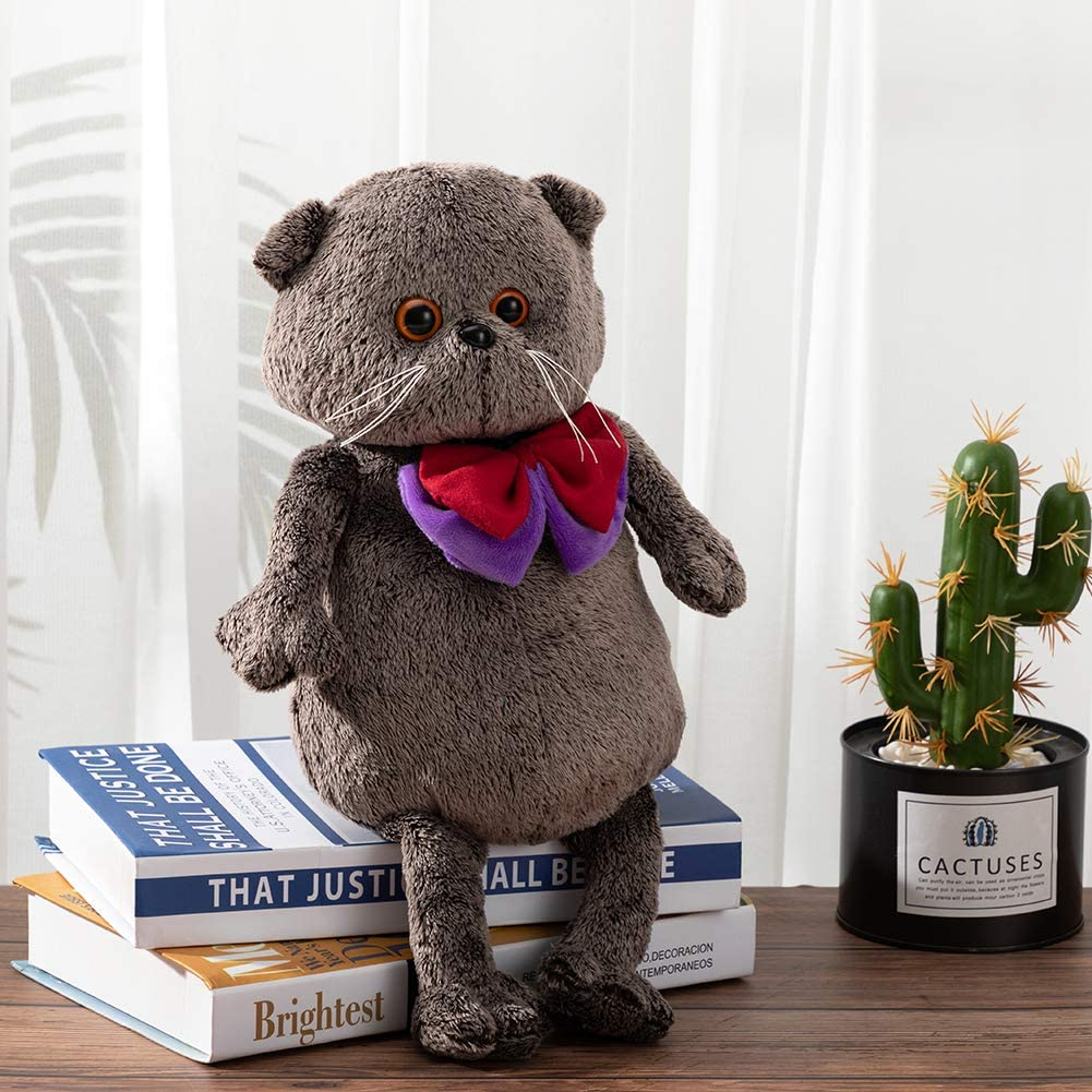 HollyHOME Plush Cat Stuffed Animal British Shorthair Cat Plush Grey Kitten with Bow Tie Gift for Kids 14 Inch