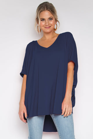 Hi Low Miracle Top in Navy (bamboo)