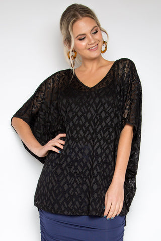 Hi Low Mesh Miracle Top in Black Geo