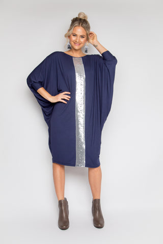Long Sleeve Miracle Dress in Navy/Silver (Bamboo)