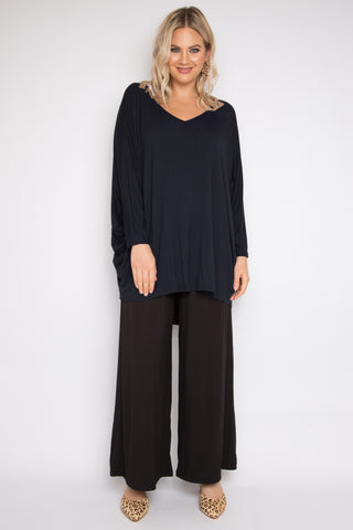 Long Sleeve Hi Low Miracle Top in Midnight (Bamboo)