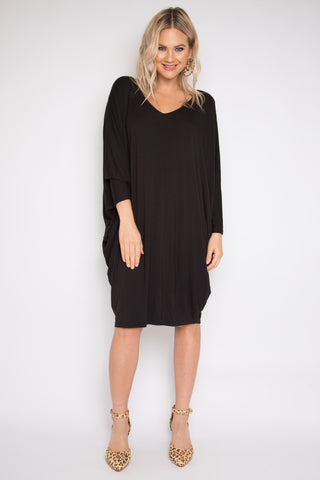 Long Sleeve Miracle Dress in Black (Bamboo)