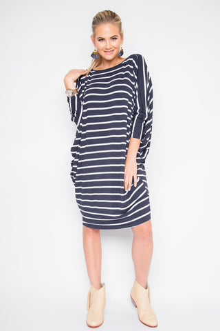 Long Sleeve Miracle Dress in Navy/White Stripe