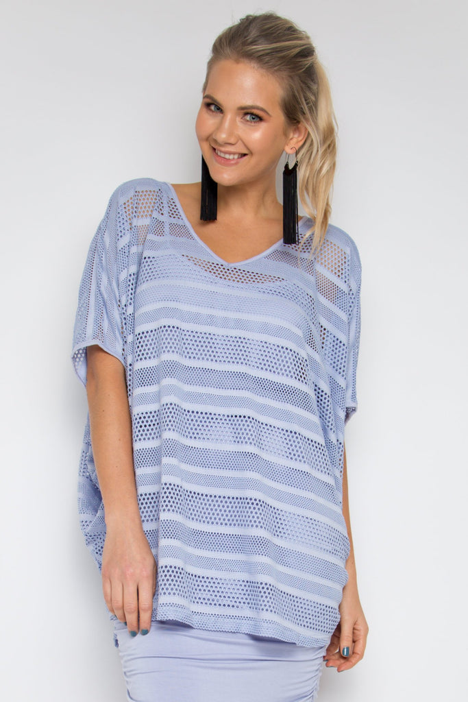 4236aa3761989 Hi Low Mesh Miracle Top in Lilac Stripe – PQ Collection