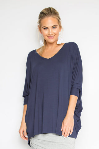 Long Sleeve Hi Low Miracle Top in Navy (Bamboo)