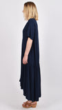 Short Sleeve Peak Maxi Dress in Navy