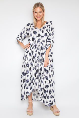 Long Sleeve Peak Maxi Dress in Sugar Plum