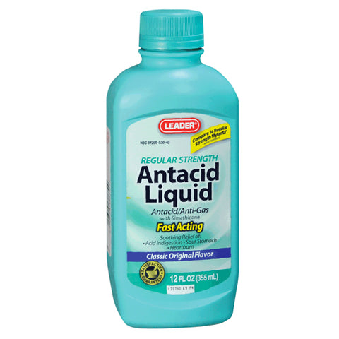 Leader Antacid Anti-Gas Liquid, Regular Strength, 12oz 096295386790A239