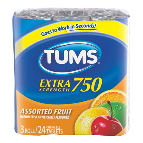 Tums Extra Strength 750, Assortied Fruit, 3x24ct 307660739210A1632
