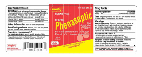 Rugby Phenaseptic Throat Spray, Sugar Free Cherry, 6oz 305362425585A227