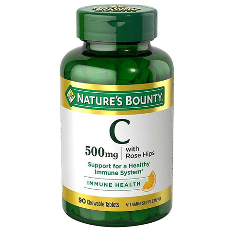 Nature's Bounty Vitamin C-500mg w/Rose Hips, 90ct 074312038808T568
