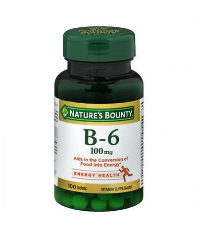 Nature's Bounty Vitamin B-6, 100mg, Tablets, 100ct 074312006500T436
