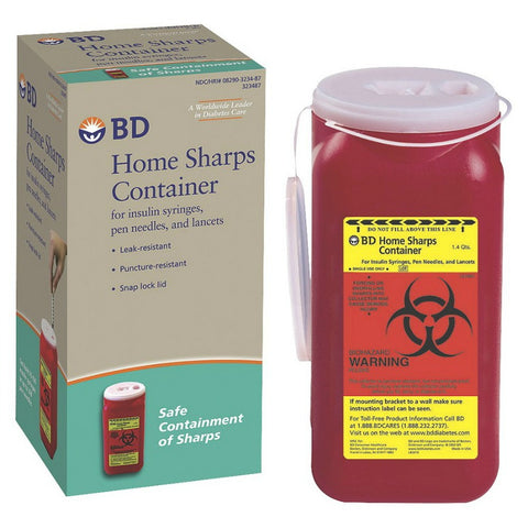 BD Home Sharps Container, 1.4qts 382903234875A279