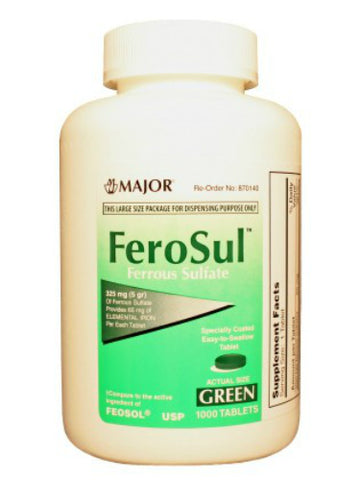 Major Ferrous Sulfate 325mg, Green, Tablets, 1000ct 009047591809S855
