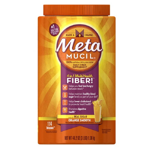 Metamucil MultiHealth Fiber, Orange Smooth, 48.2oz 037000741343T1594