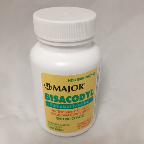 Major Bisacodyl Enteric Coated Tablets, 5mg, 1000ct 009047927806A596