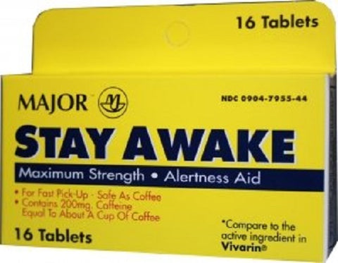 Major Stay Awake 200mg Alertness Aid, 16ct 009047955441S212