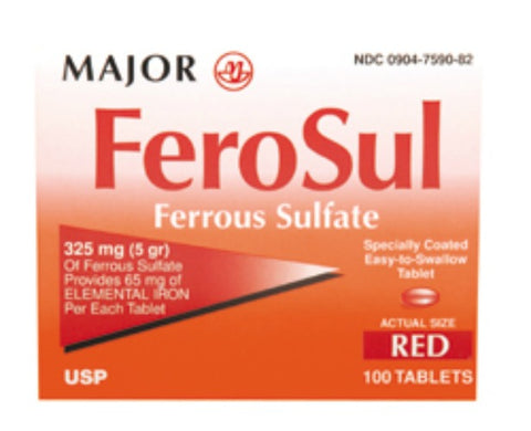 Major FeroSul Red Tablets, 325mg, 100ct 009047590826A122