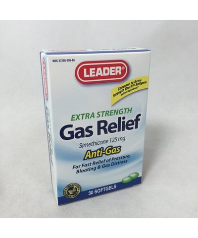 Leader Gas Relief Softgels Extra Strength 125mg 30ct 096295109078A219