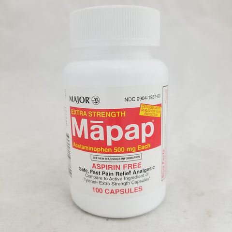 Major Mapap 500mg Capsules, 100ct 009041987608S349