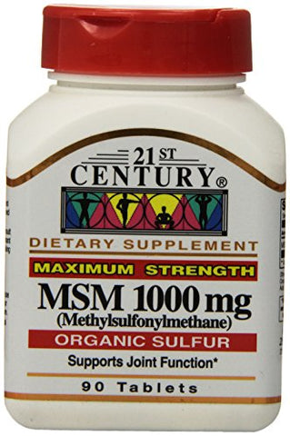 21st Century MSM-1000mg Tablets, Organic Sulfur, 90ct 740985217207A450