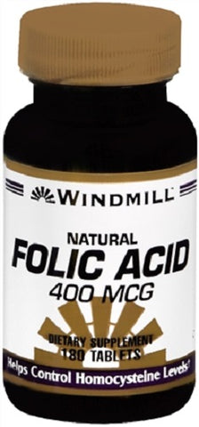 Windmill Natural Folic Acid 400mcg Tablets, 180ct 035046002725S369