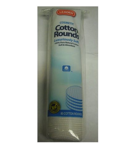 Leader Cosmetic Cotton Rounds, 80ct 096295110555A126