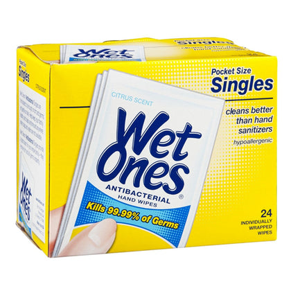 Wet Ones Antibacterial Hands & Face Wipes Citrus 24ea 076828047305T185
