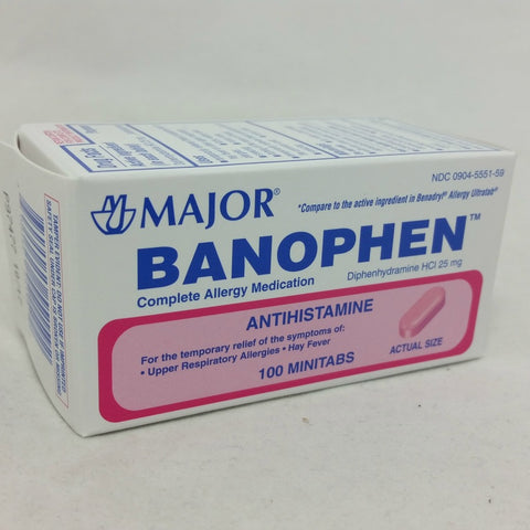 Major Banophen Allergy MiniTabs, 25mg, 100ct 009045551591A122