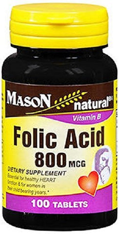 Mason Natural Folic Acid Tablets, 800mcg, 100ct 311845067616A208