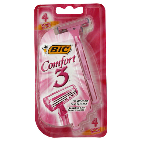 Bic Comfort 3 Women's Sensitive Shaver, 4ct 070330711945S266