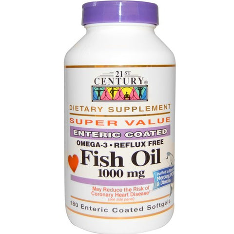 21st Century Enteric Coated Fish Oil 1000mg, 180ct 740985228739T780