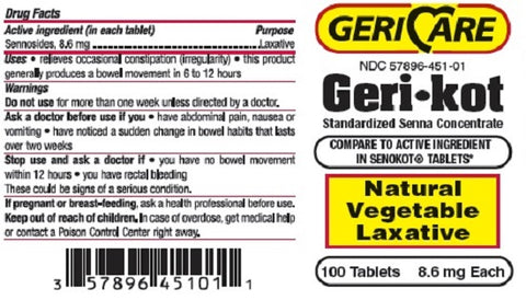 Gericare Gerikot Laxative Tablets, 8.6mg, 100ct 357896451011A328