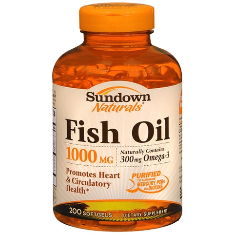 Sundown Naturals Fish Oil, 1000mg, Softgels, 200ct 030768033040T894