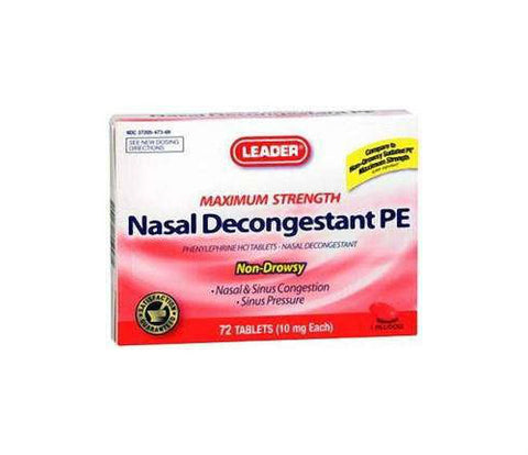 Leader Nasal Decongestant PE Max Strength Tablet, 72ct 096295129502S275