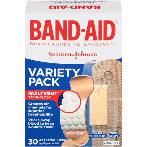Band-Aid Adhesive Bandages, Variety Pack, 30ct 381370048480S238