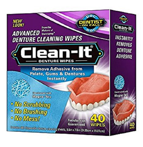 Clean-It Advanced Denture Cleaning Wipes, 40ct 010705400302S165