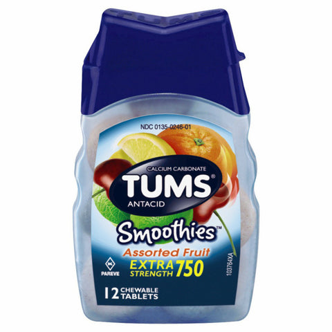 TUMS Smoothies Chewable Tabs, Assorted Fruit, 12ct 307660740605A113