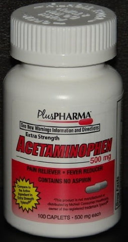 Plus Pharma Acetaminophen 500mg Tablets, 100ct 837864001030S417