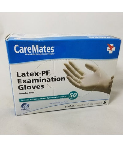 CareMates Latex-PF Examination Gloves, Small, 50ct 715912053111A569