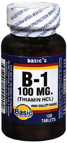 Basic Vitamins Vitamin B1 Tablet 100mg, 100ct 307610555204S240