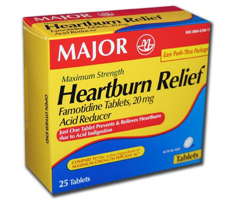 Major Heartburn Relief Famotide Tablets, 20mg, 25ct 309045780176A618