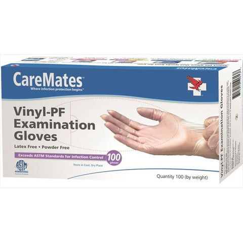 CareMates Vinyl Exam Gloves, Powder Free, Small, 100ct 715912104318A729