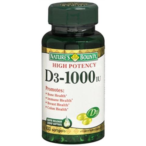 Nature's Bounty Vitamin D3-1000 IU, Softgels, 100ea 074312156052T520
