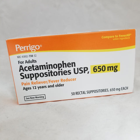 Perrigo Acetaminophen Adult Suppositories, 650mg, 50ct 458020730320A1395