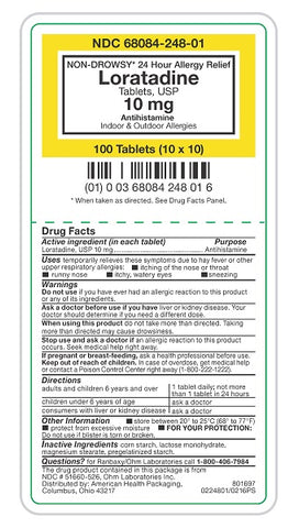 American Health Loratadine Tablets, 10mg, 100ct 368084248016A2901